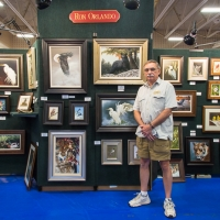 Artist at the Audubon Art and Craft Festival (Hawley, PA). Photo credit: Chris Fischer.